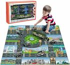 Diecast City Police Car Toy Set w Play Mat Truck Carrier SWAT Helicopter Patrol