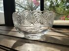 Tiffany  Co Crystal Candy Bowl Signed 3 Tall Etched Swirls Spiral Greek Waves