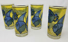 Vintage Libbey Blue Fish Stained Glass 12 oz Drinking Glasses Yellow Set of 4