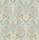 Wallpaper Designer Gray Teal Green Willow Nouveau Floral
