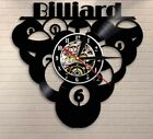 Billiards Pool Balls Player Vinyl Record Clock Wall 12 NEW