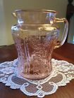 FEDERAL GLASS SHARON CABBAGE ROSE PINK 80 oz PITCHER w o ICE LIP 8 Tall