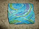 VINTAGE CANNON SWIRLS BLUE TEAL PURPLE GREEN GROOVY 70S 1 QUEEN FITTED SHEET