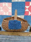 Antique Egg Basket w 1890s Indigo Blue Calico Quilt Patch Repair