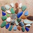 GENUINE BEACH SEA GLASS LOT OF 30 SURF TUMBLED SOME FLAWLESS SEE PHOTOS 00 01 02