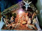 MUST SEE LARGE ANTIQUE NATIVITY SET 15 figures + HUGE LOG CABIN MADE IN ITALY