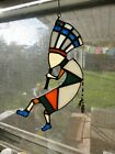 KOKOPELLI 9X4in tall Artisan Stained Glass Suncatcherhandmade Patchwork color