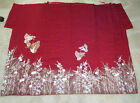 Japanese Red Silk Furisode Kimono Fabric Hand Painted Floral Butterfly 44 x 50