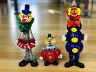 Gorgeous Vintage Venetian Murano Set 3 Glass Clowns Handmade