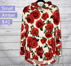 LuLaRoe small Amber hooded sweatshirt white red roses flower floral hacci NWT