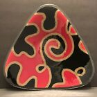 Peggy Karr Signed Fuzion Triangle Motion Red Fused Art Glass Plate Platter