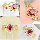 Vintage Solid 14k Yellow Gold Garnet Ring Size 8