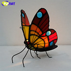 Candle Holder Butterfly Night Lamp Gift Bedroom Decor Handmade Stained Art Glass