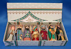 vintage Lacquer Wood RUSSIAN NATIVITY 7 Pc ORNAMENT SET w BOX Perfect Condition
