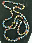 Vintage VENETIAN MURANO GLASS MILLEFIORI Bead Necklace 34 Long