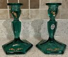 Pair of Fenton Emerald Green Glass Candlestick Holders w Gold Painted Flowers