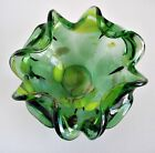 Vintage Mid Century Murano Style Art Glass Green Gold Fleck Cigar Ashtray Bowl