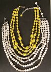 Vintage Glass Bead Necklaces 2 Yellow W Germany Milk White  Crystal Japan