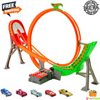 Hot Wheels Power Shift Raceway Track With Motorized Booster and 5 Race Cars Set