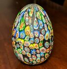 MURANO Blown Glass MILLEFIORI EGG Paperweight 3 T x 2 1 8 W x 6 Circumf