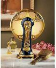 Figural Lamp Deco Art Nouveau Glass Shade Gold Lady Figure Statue T Top Desk