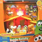 Veggie Tales Lights Singing Nativity Set 16 Piece Christmas Away in a Manger New