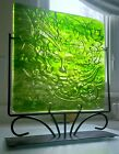 Green Goddess Impressed Art Glass Square Plate on Metal Frame Stand 155