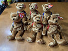 TY 123's the BEAR BEANIE BABY lot of 6 new with tags