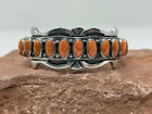 NATIVE AMERICAN NAVAJO HANDMADE STERLING SILVER APPLE CORAL CUFF BRACELET