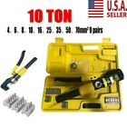 10 Ton Hydraulic Crimper Crimping Tool Wire Battery Cable Lug Terminal w 9 Dies