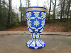 Antique Moser Goblet Cobalt Blue  White Cut to Clear Bohemian Czech Glass 55