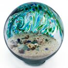 Hand Blown Glass Sea Globe With Sand  Seashells Blue Teal  Sparkling Green 6