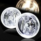 4 Round White Halo Chrome Housing Clear Lens Fog Driving Lights Lamps Universal