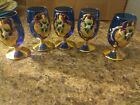 COBALT BOHEMIAN CZECH VINTAGE ART GLASS FLORAL ENAMEL GLASSES SET OF 5