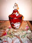 Fenton Art Glass Ruby Red Handpainted Floral Artist Signed Covered Compote 1976