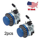 2x Motorcycle Carburetor with Air Filter For Bike 50CC 80CC 2 Stroke Motorized