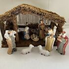 Vintage Sears 32 97800 Nativity Set 11 Porcelain Figures And Wood Stable Box
