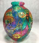 Textured Glass Vase Colorful Clear 10 Hand Made Thailand