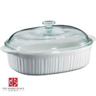 4 Quart Oval Casserole French White With Glass Cover By Corningware Bakeware