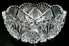 SMALL LEAD CRYSTAL GLASS CANDY BOWL 9 HAND CUT CZECH SERVING DISH DECOR FRUIT