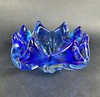 Hand Blown Art Glass Bowl Dish Blue and Clear