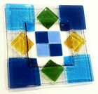 Vintage Mdina Signed Colorful Fused Art Glass Square Plate Dish 12 from Malta
