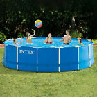 Intex 28241EH 15ft x 48in Metal Frame Above Ground Pool Set with Pump  Cover