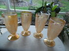 Set of 4 Jeanette Depression Glass Iris  Herringbone Iridescent Amber Tumblers