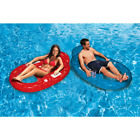 Deluxe Red And Blue Inflatable Oval Floating Swimming Pool Lounge 2 Pack