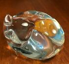 Steuben Signed Crystal Glass Figurine Hand Cooler Sleeping Cat 5520