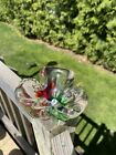 mid century murano glass ashtray Catch All Red And Green Murano Dish Excellent