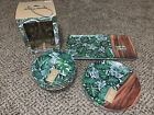 Tommy Bahama PLATES BOWLS TRAY WINE GLASS Wood Bamboo Look MELAMINE PALM LEAVES