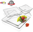 12 Piece Square Dinnerware Glass Clear Dishes Salad Plate Bowl Kitchen Set NEW