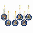 Set of 6 Christmas Nativity Wooden Hanging Tree Decorations